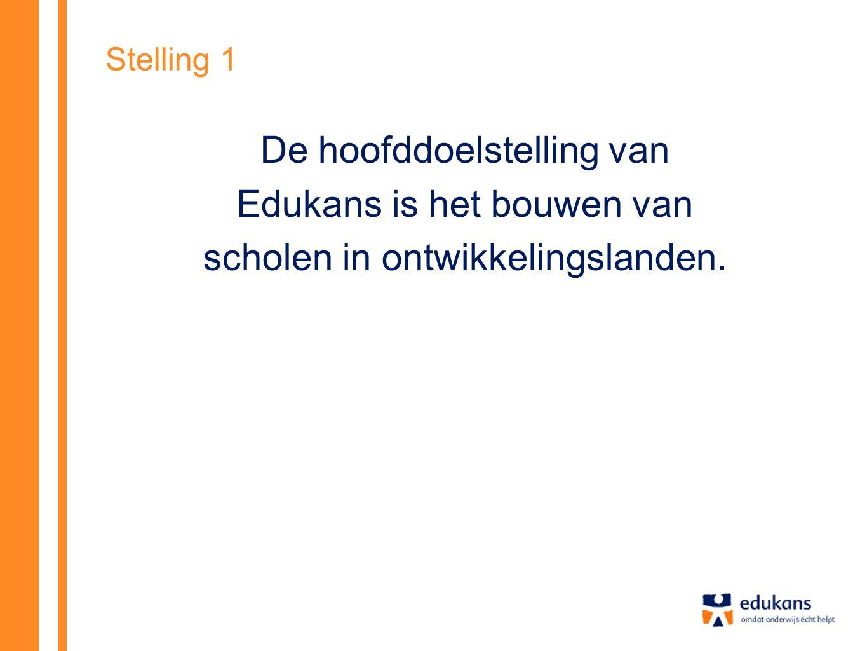 Stelling 1 De hoofddoelstelling van Edukans is het bouwen van scholen in ontwikkelingslanden.