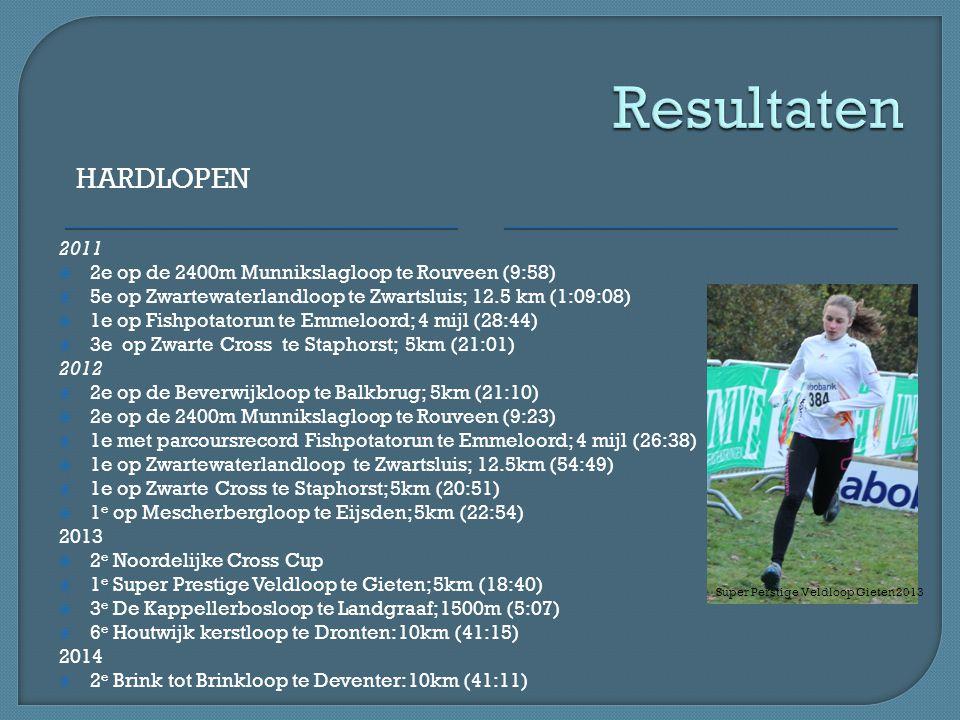 HARDLOPEN 2011  2e op de 2400m Munnikslagloop te Rouveen (9:58)  5e op Zwartewaterlandloop te Zwartsluis; 12.5 km (1:09:08)  1e op Fishpotatorun te Emmeloord; 4 mijl (28:44)  3e op Zwarte Cross te Staphorst; 5km (21:01) 2012  2e op de Beverwijkloop te Balkbrug; 5km (21:10)  2e op de 2400m Munnikslagloop te Rouveen (9:23)  1e met parcoursrecord Fishpotatorun te Emmeloord; 4 mijl (26:38)  1e op Zwartewaterlandloop te Zwartsluis; 12.5km (54:49)  1e op Zwarte Cross te Staphorst; 5km (20:51)  1 e op Mescherbergloop te Eijsden; 5km (22:54) 2013  2 e Noordelijke Cross Cup  1 e Super Prestige Veldloop te Gieten; 5km (18:40)  3 e De Kappellerbosloop te Landgraaf; 1500m (5:07)  6 e Houtwijk kerstloop te Dronten: 10km (41:15) 2014  2 e Brink tot Brinkloop te Deventer: 10km (41:11) Super Perstige Veldloop Gieten 2013