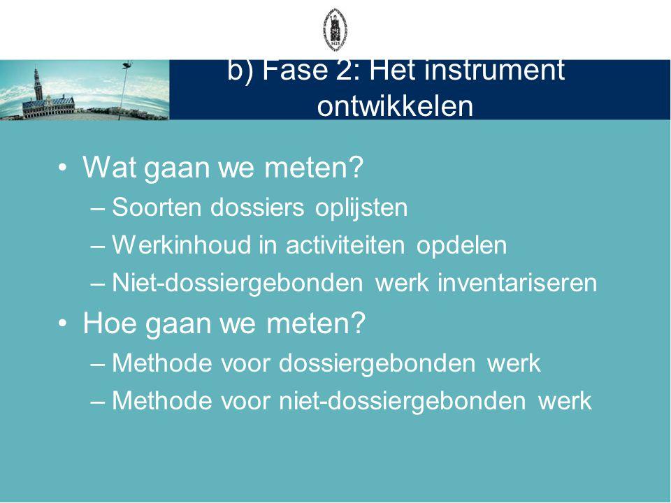b) Fase 2: Het instrument ontwikkelen •Wat gaan we meten? –Soorten dossiers oplijsten –Werkinhoud in activiteiten opdelen –Niet-dossiergebonden werk i