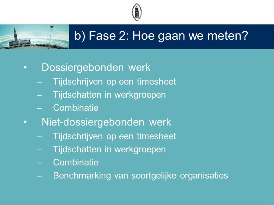 b) Fase 2: Hoe gaan we meten? •Dossiergebonden werk –Tijdschrijven op een timesheet –Tijdschatten in werkgroepen –Combinatie •Niet-dossiergebonden wer