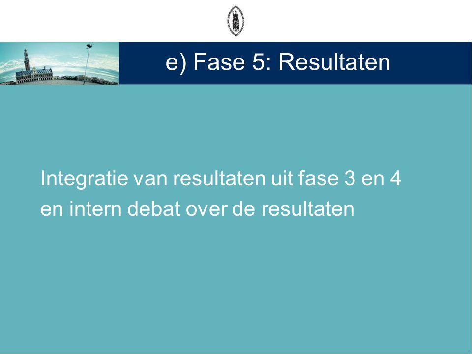 e) Fase 5: Resultaten Integratie van resultaten uit fase 3 en 4 en intern debat over de resultaten