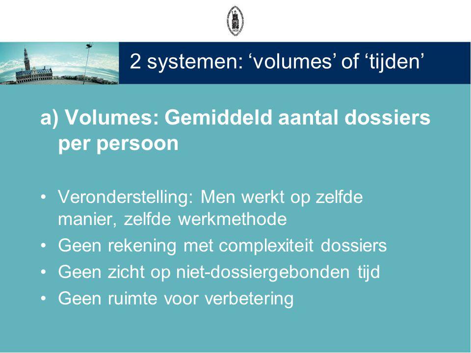 2 systemen: 'volumes' of 'tijden' a) Volumes: Gemiddeld aantal dossiers per persoon •Veronderstelling: Men werkt op zelfde manier, zelfde werkmethode