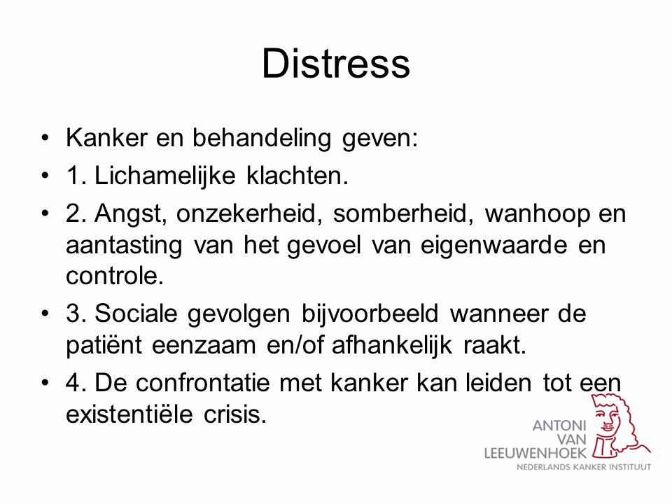 Distress •Kanker en behandeling geven: •1. Lichamelijke klachten. •2. Angst, onzekerheid, somberheid, wanhoop en aantasting van het gevoel van eigenwa