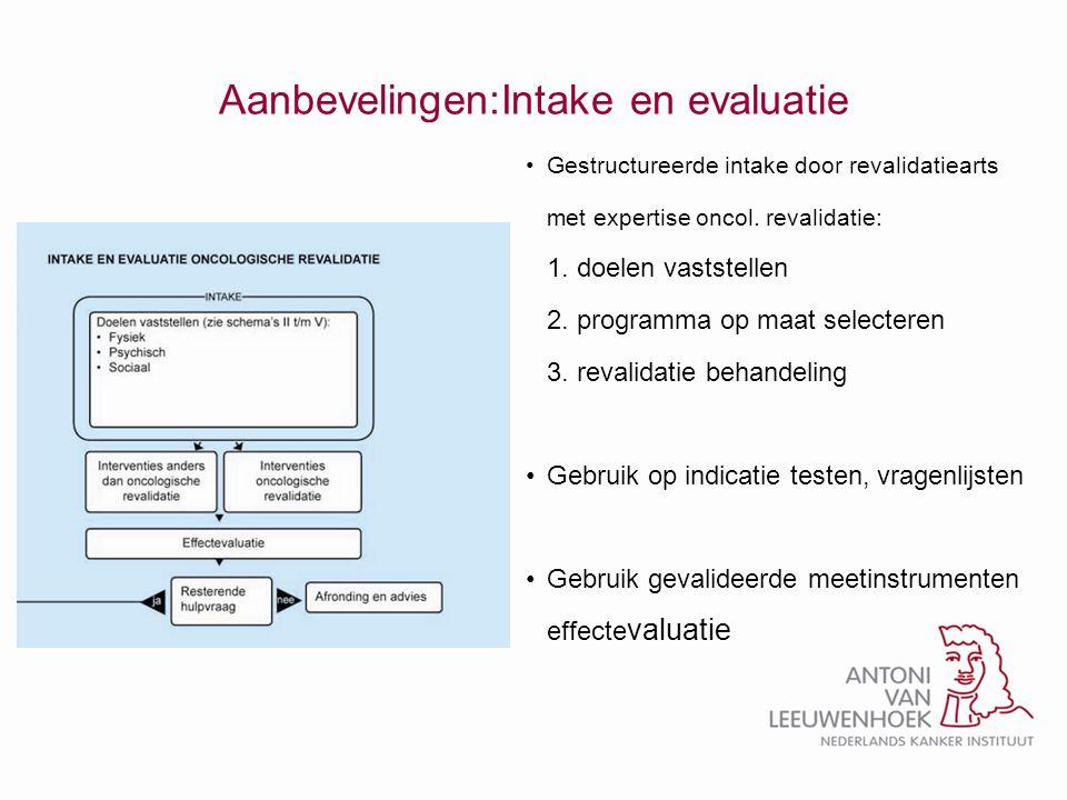 Aanbevelingen:Intake en evaluatie •Gestructureerde intake door revalidatiearts met expertise oncol. revalidatie: 1. doelen vaststellen 2. programma op