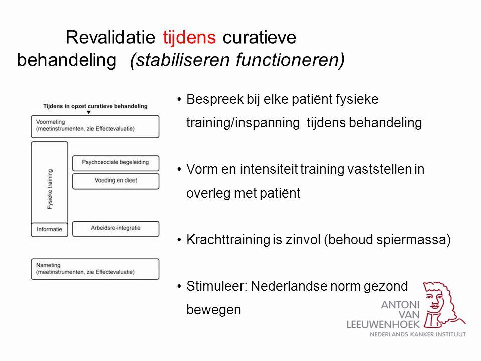 Revalidatie tijdens curatieve behandeling (stabiliseren functioneren) •Bespreek bij elke patiënt fysieke training/inspanning tijdens behandeling •Vorm