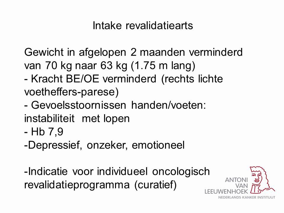 Intake revalidatiearts Gewicht in afgelopen 2 maanden verminderd van 70 kg naar 63 kg (1.75 m lang) - Kracht BE/OE verminderd (rechts lichte voetheffe