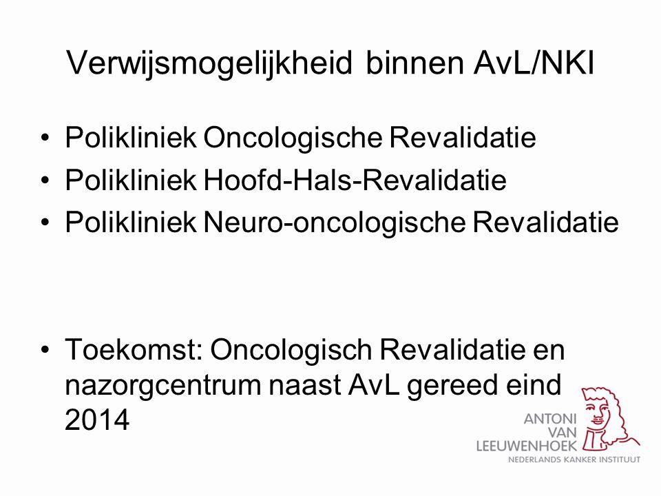 Verwijsmogelijkheid binnen AvL/NKI •Polikliniek Oncologische Revalidatie •Polikliniek Hoofd-Hals-Revalidatie •Polikliniek Neuro-oncologische Revalidat
