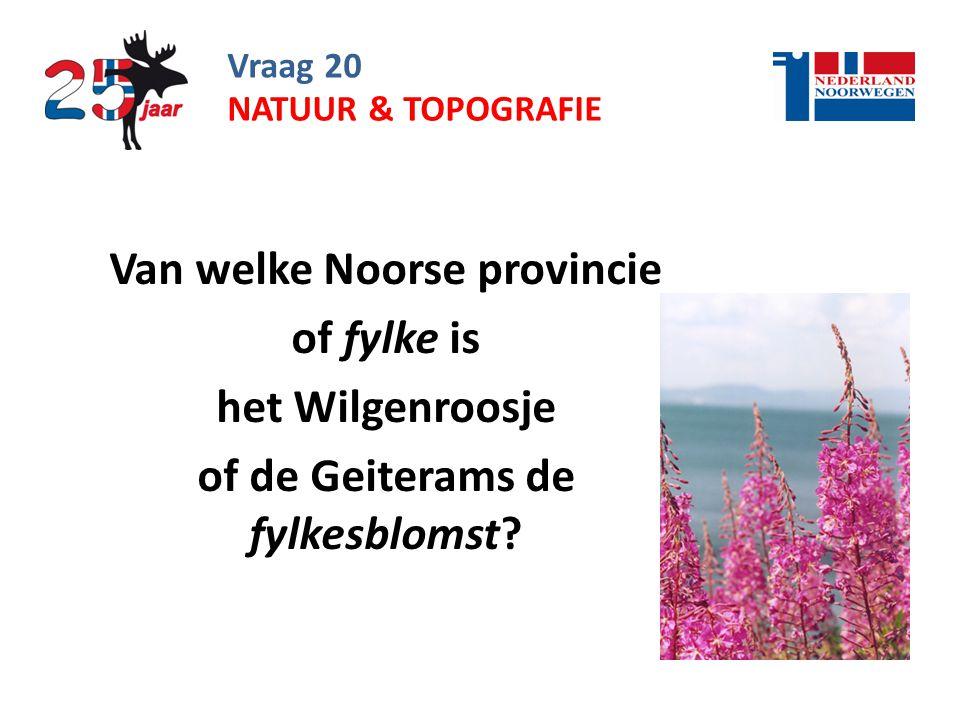 Vraag 20 Van welke Noorse provincie of fylke is het Wilgenroosje of de Geiterams de fylkesblomst.