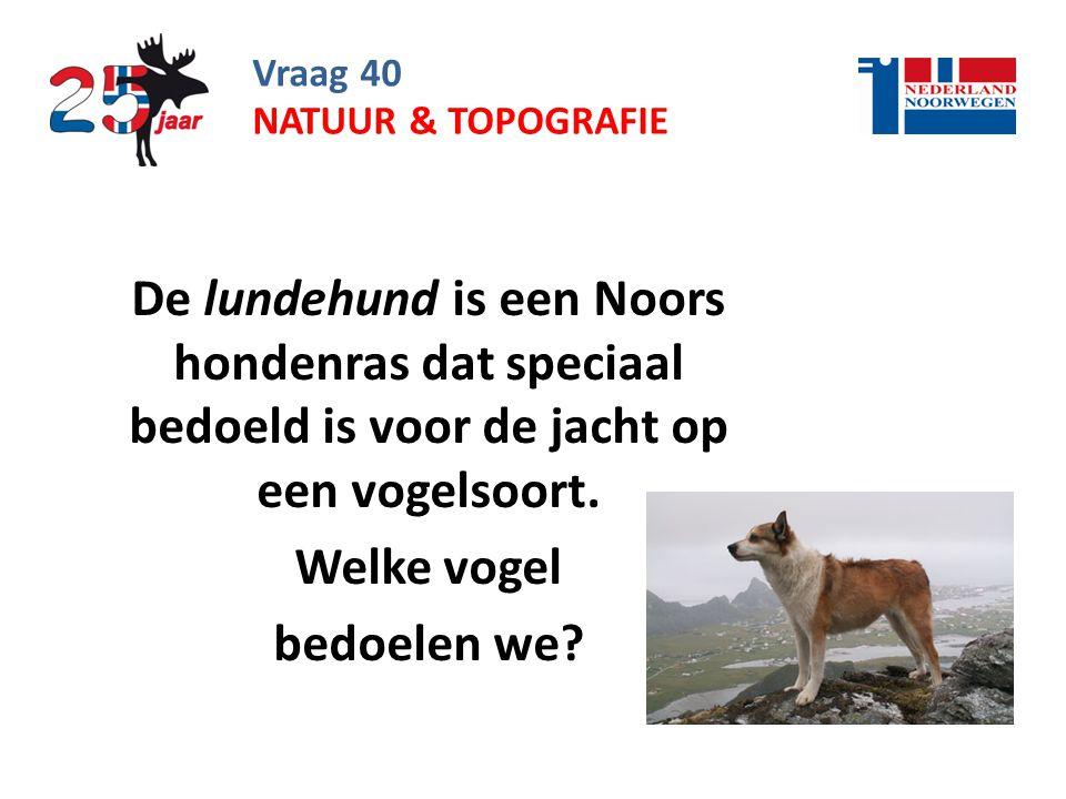 Vraag 40 De lundehund is een Noors hondenras dat speciaal bedoeld is voor de jacht op een vogelsoort.