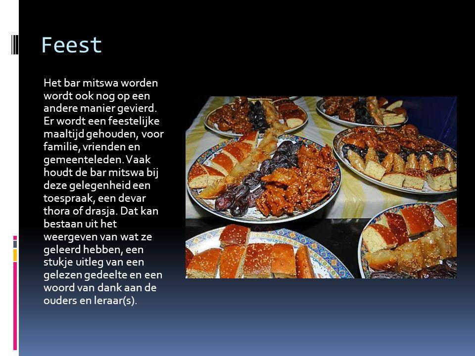 Feest Het bar mitswa worden wordt ook nog op een andere manier gevierd. Er wordt een feestelijke maaltijd gehouden, voor familie, vrienden en gemeente