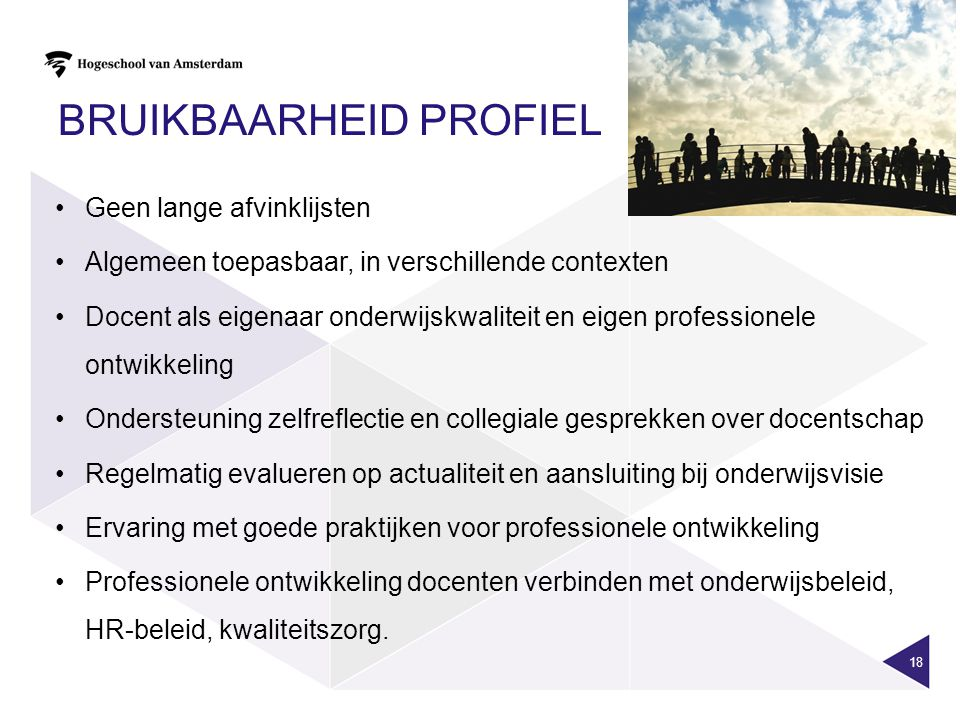 BRUIKBAARHEID PROFIEL 18 •Geen lange afvinklijsten •Algemeen toepasbaar, in verschillende contexten •Docent als eigenaar onderwijskwaliteit en eigen p