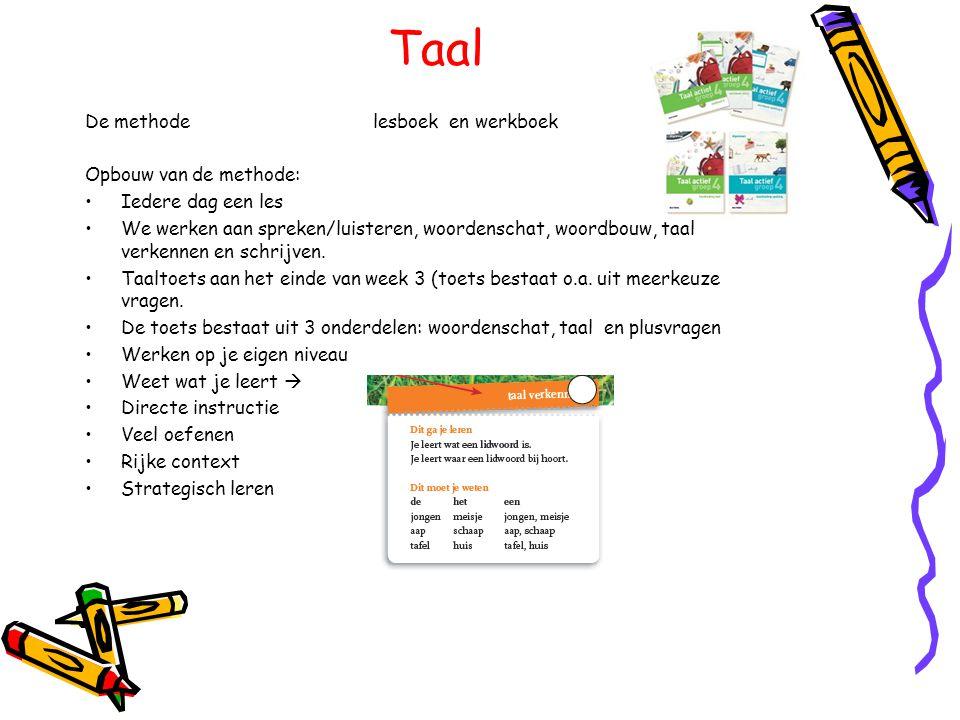 Taal De methodelesboek en werkboek Opbouw van de methode: •Iedere dag een les •We werken aan spreken/luisteren, woordenschat, woordbouw, taal verkenne