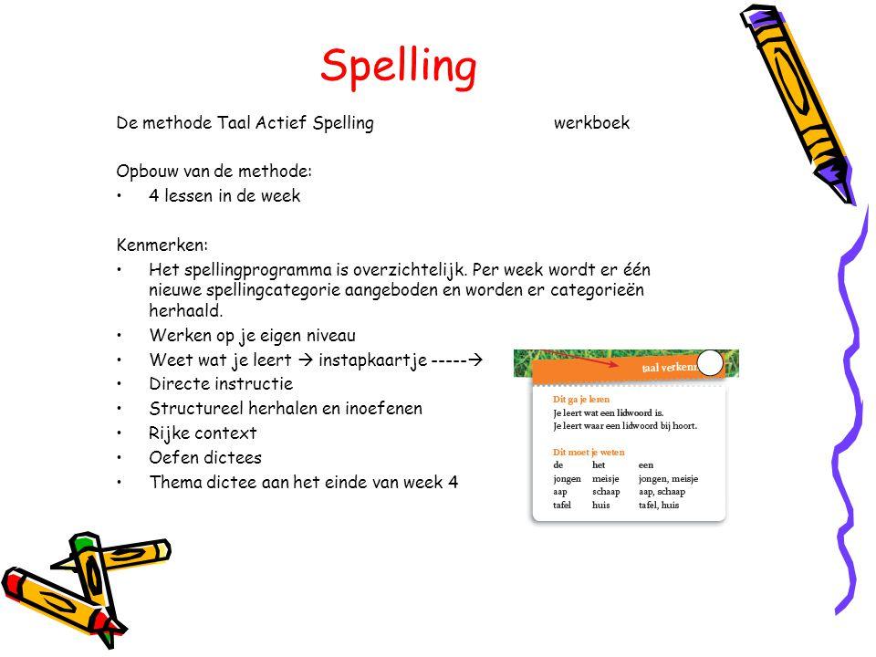 Spelling De methode Taal Actief Spellingwerkboek Opbouw van de methode: •4 lessen in de week Kenmerken: •Het spellingprogramma is overzichtelijk. Per