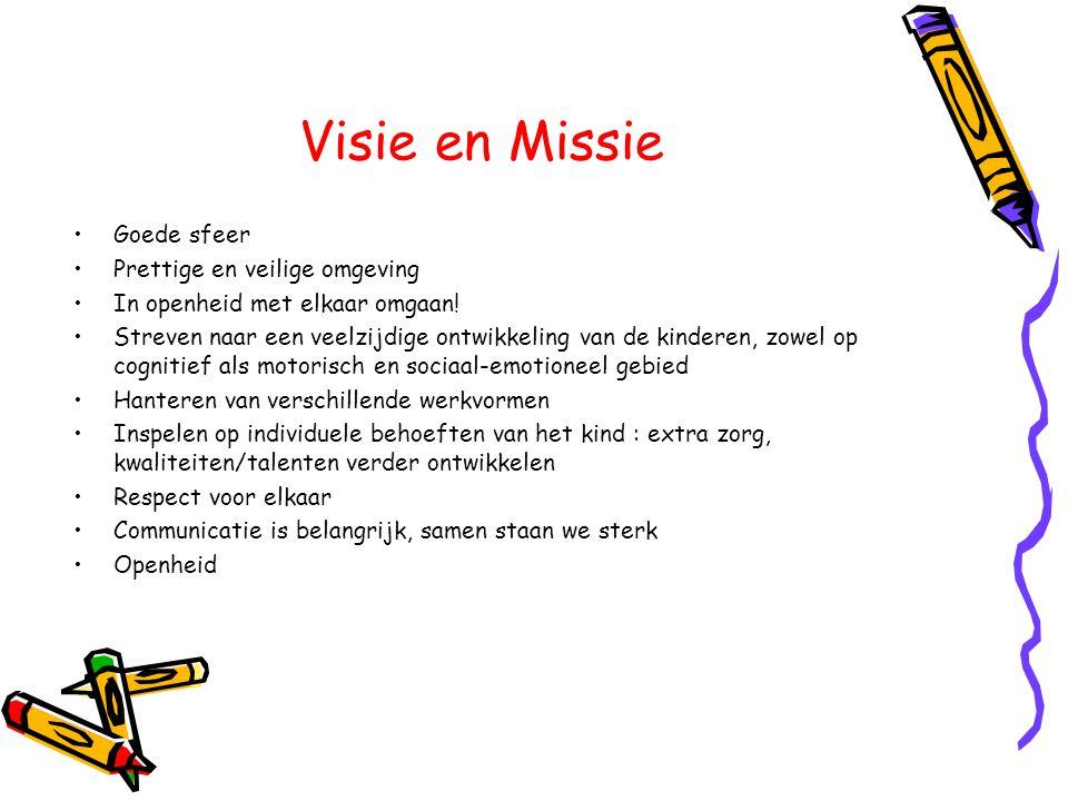 Visie en Missie •Goede sfeer •Prettige en veilige omgeving •In openheid met elkaar omgaan! •Streven naar een veelzijdige ontwikkeling van de kinderen,