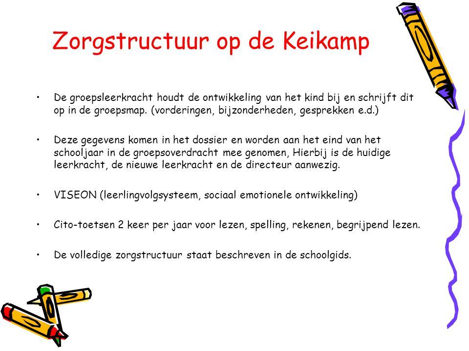 Zorgstructuur op de Keikamp •De groepsleerkracht houdt de ontwikkeling van het kind bij en schrijft dit op in de groepsmap. (vorderingen, bijzonderhed