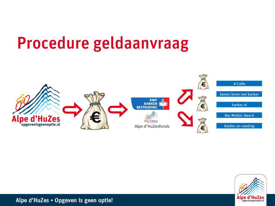 Alpe d'HuZes • Opgeven is geen optie! Procedure geldaanvraag