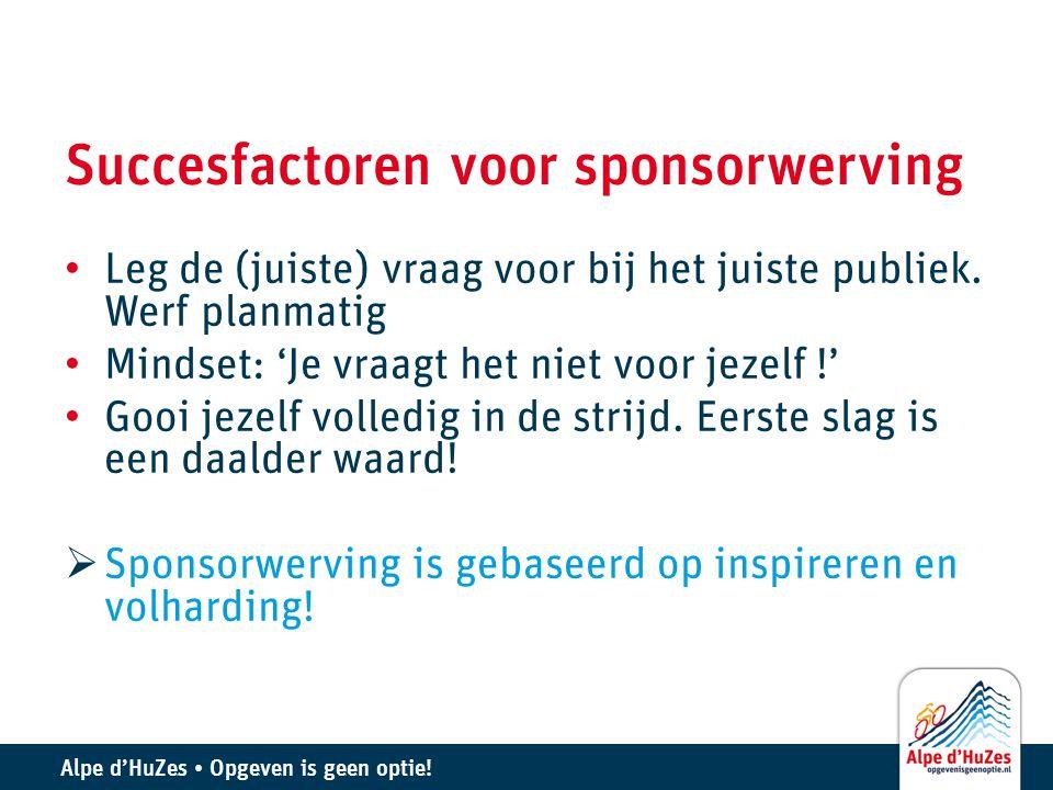 Succesfactoren voor sponsorwerving • Leg de (juiste) vraag voor bij het juiste publiek. Werf planmatig • Mindset: 'Je vraagt het niet voor jezelf !' •