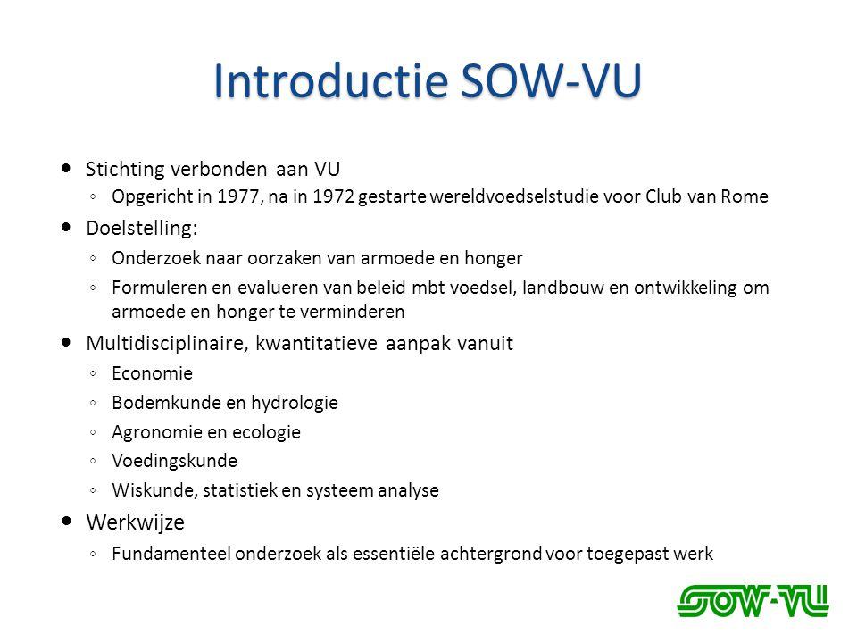 Introductie SOW-VU  Stichting verbonden aan VU ◦ Opgericht in 1977, na in 1972 gestarte wereldvoedselstudie voor Club van Rome  Doelstelling: ◦ Onde