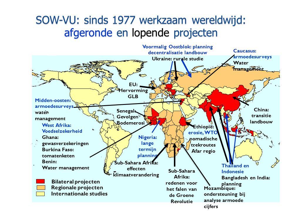 SOW-VU: sinds 1977 werkzaam wereldwijd: afgeronde en lopende projecten Bilateral projecten Regionale projecten Internationale studies China: transitie