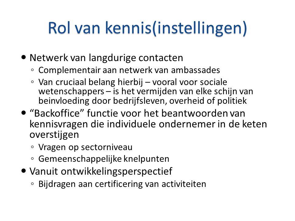 Rol van kennis(instellingen)  Netwerk van langdurige contacten ◦ Complementair aan netwerk van ambassades ◦ Van cruciaal belang hierbij – vooral voor