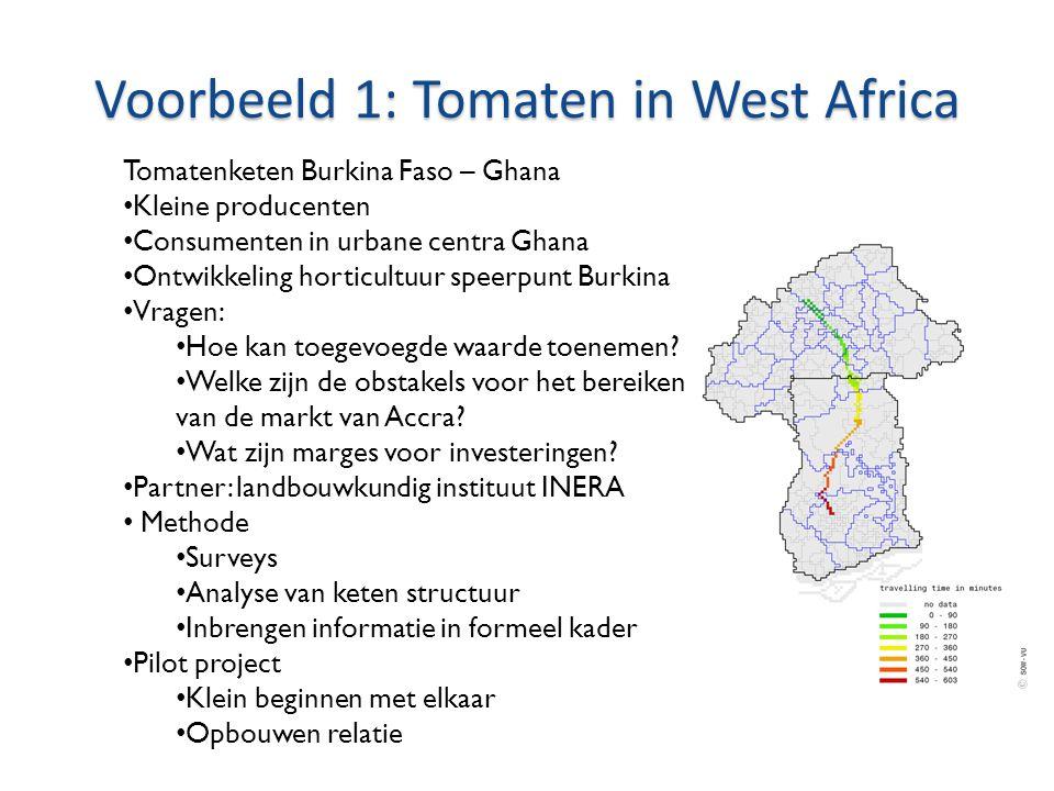 Voorbeeld 1: Tomaten in West Africa Tomatenketen Burkina Faso – Ghana • Kleine producenten • Consumenten in urbane centra Ghana • Ontwikkeling horticultuur speerpunt Burkina • Vragen: • Hoe kan toegevoegde waarde toenemen.