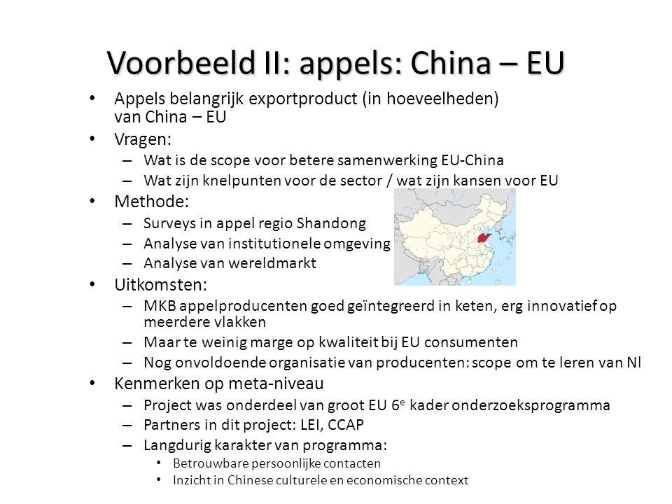 Voorbeeld II: appels: China – EU • Appels belangrijk exportproduct (in hoeveelheden) van China – EU • Vragen: – Wat is de scope voor betere samenwerki