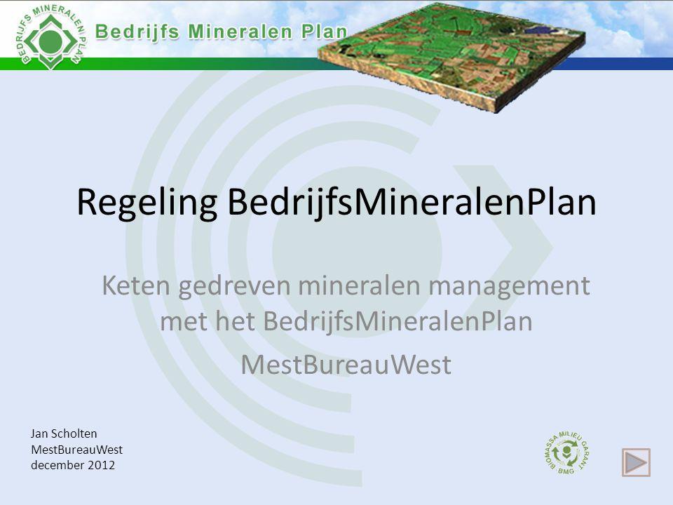 Regeling BedrijfsMineralenPlan Keten gedreven mineralen management met het BedrijfsMineralenPlan MestBureauWest Jan Scholten MestBureauWest december 2012