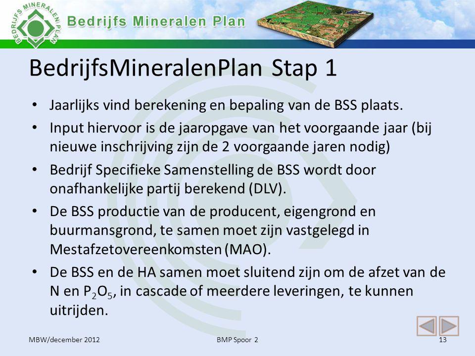 BedrijfsMineralenPlan Stap 1 • Jaarlijks vind berekening en bepaling van de BSS plaats. • Input hiervoor is de jaaropgave van het voorgaande jaar (bij