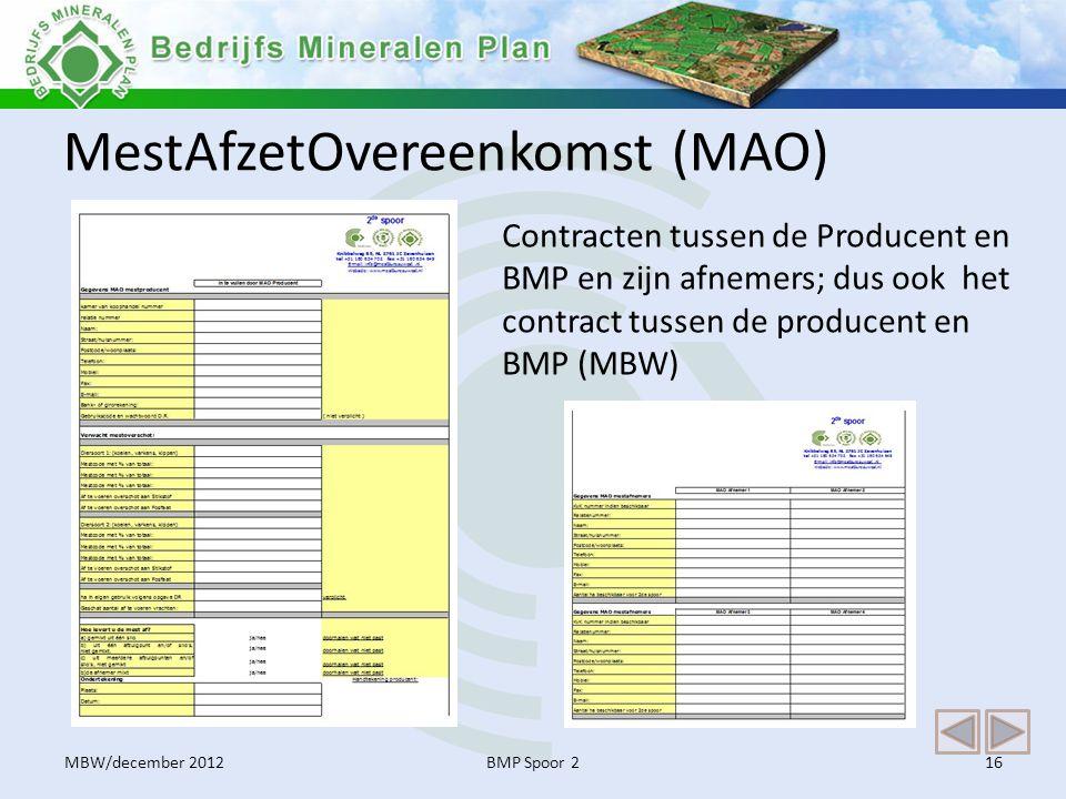 MestAfzetOvereenkomst (MAO) BMP Spoor 216 Contracten tussen de Producent en BMP en zijn afnemers; dus ook het contract tussen de producent en BMP (MBW