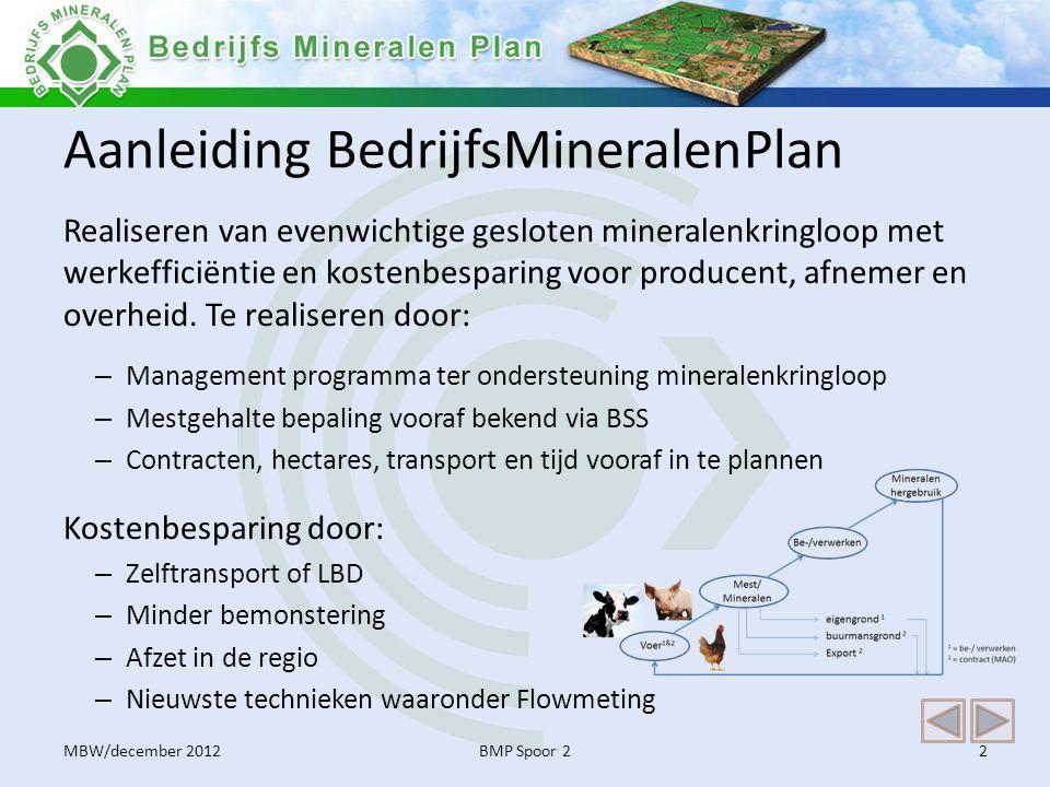 Regeling BedrijfsMineralenPlan Uitgangspunten regeling BMP De BMP regeling is een initiatief van Mest Bureau West (MBW).