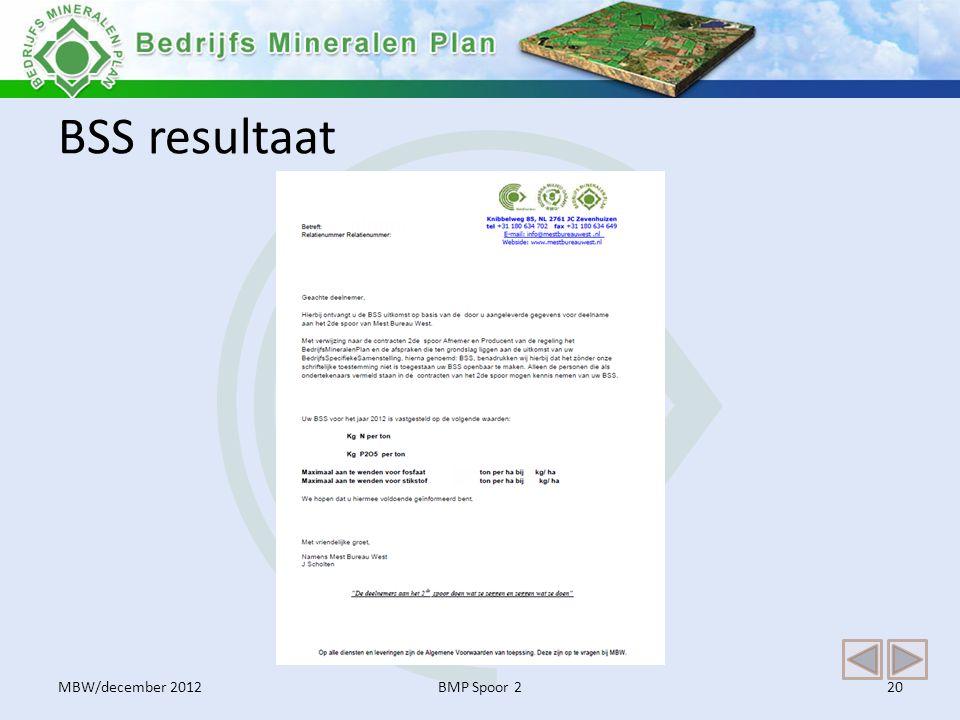 BSS resultaat BMP Spoor 220MBW/december 2012