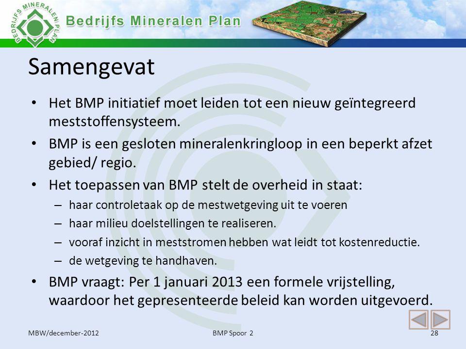 Samengevat • Het BMP initiatief moet leiden tot een nieuw geïntegreerd meststoffensysteem. • BMP is een gesloten mineralenkringloop in een beperkt afz