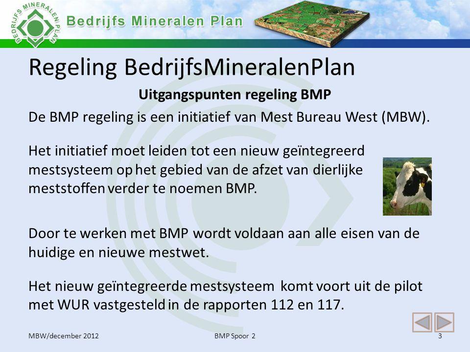Regeling BedrijfsMineralenPlan Uitgangspunten regeling BMP De BMP regeling is een initiatief van Mest Bureau West (MBW). Het initiatief moet leiden to
