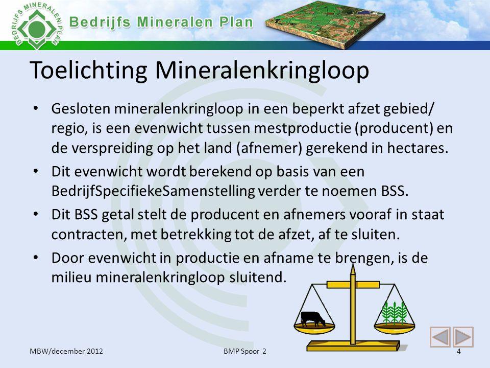 Toelichting Mineralenkringloop • Gesloten mineralenkringloop in een beperkt afzet gebied/ regio, is een evenwicht tussen mestproductie (producent) en