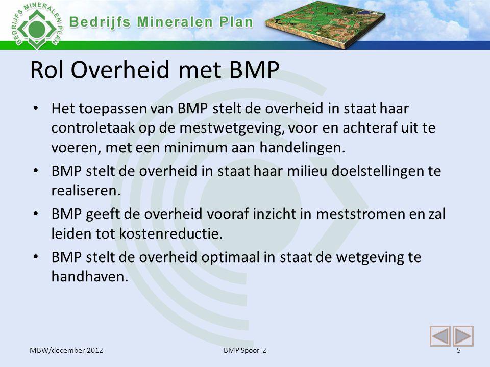 Rol Overheid met BMP • Het toepassen van BMP stelt de overheid in staat haar controletaak op de mestwetgeving, voor en achteraf uit te voeren, met een minimum aan handelingen.