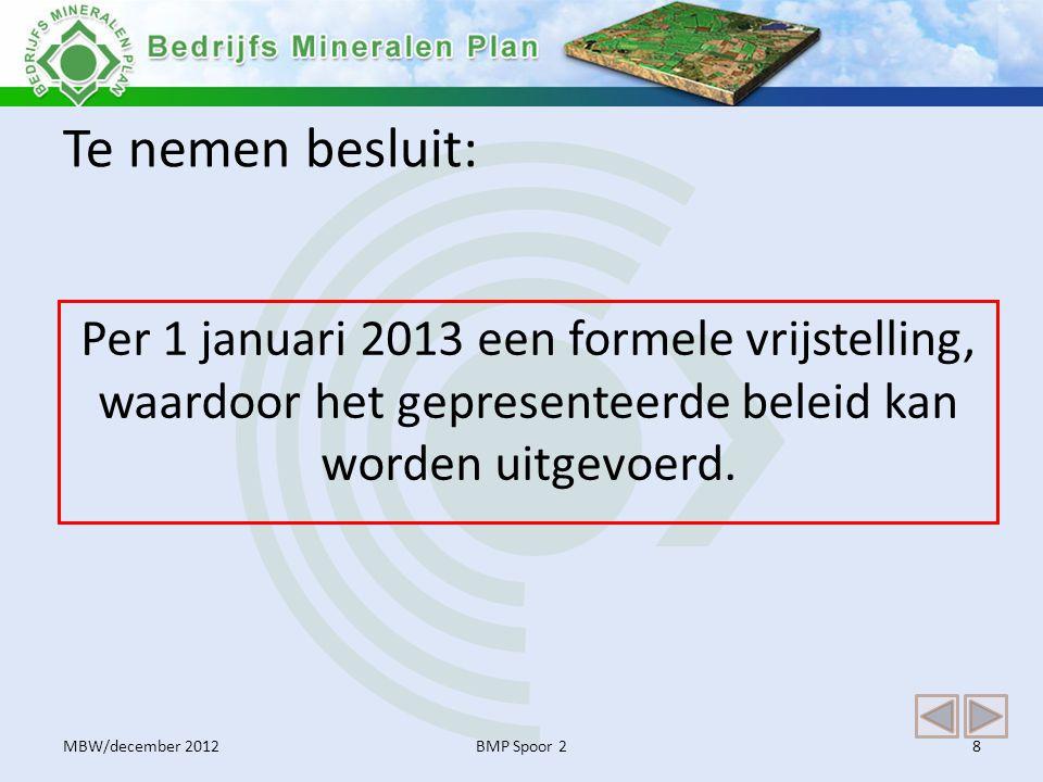 Te nemen besluit: Per 1 januari 2013 een formele vrijstelling, waardoor het gepresenteerde beleid kan worden uitgevoerd. BMP Spoor 28MBW/december 2012