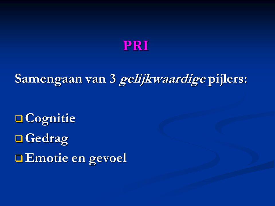 PRI Samengaan van 3 gelijkwaardige pijlers:  Cognitie  Gedrag  Emotie en gevoel