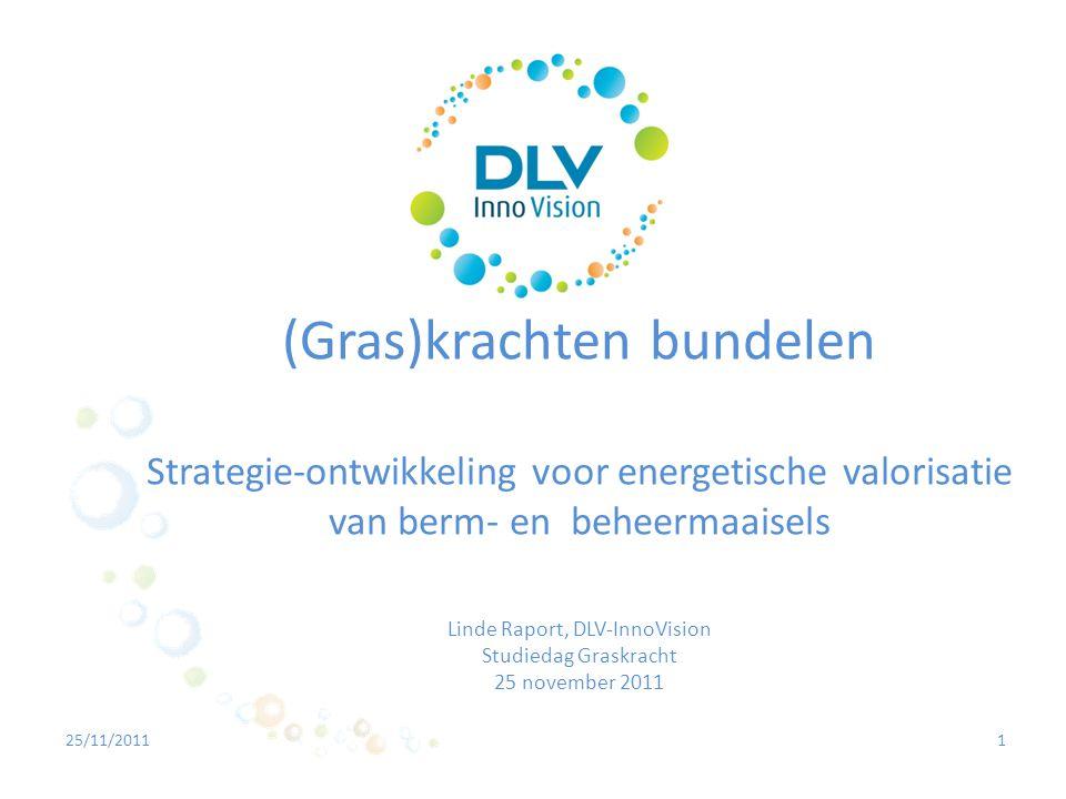 2 1.Bedrijfsvoorstelling - DLV InnoVision 2.Strategie-ontwikkeling voor energetische valorisatie van berm- en beheermaaisels 2.1 Strategie 1 – Coverwerking maaisels met intercommunaal afval 2.2 Strategie 2 – Coverwerking maaisels in landbouwvergisting 2.3 Strategie 3 – Pocketvergisting: een stijlbreuk door schaalverkleining.