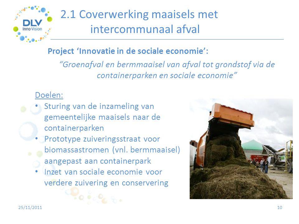 """2.1 Coverwerking maaisels met intercommunaal afval 10 Project 'Innovatie in de sociale economie': """"Groenafval en bermmaaisel van afval tot grondstof v"""