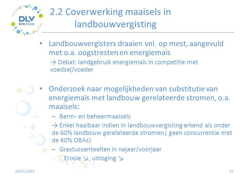 2.2 Coverwerking maaisels in landbouwvergisting 13 • Landbouwvergisters draaien vnl. op mest, aangevuld met o.a. oogstresten en energiemaïs → Debat: l