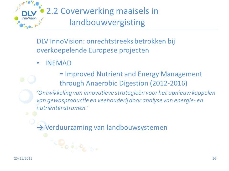 2.2 Coverwerking maaisels in landbouwvergisting 16 DLV InnoVision: onrechtstreeks betrokken bij overkoepelende Europese projecten • INEMAD = Improved