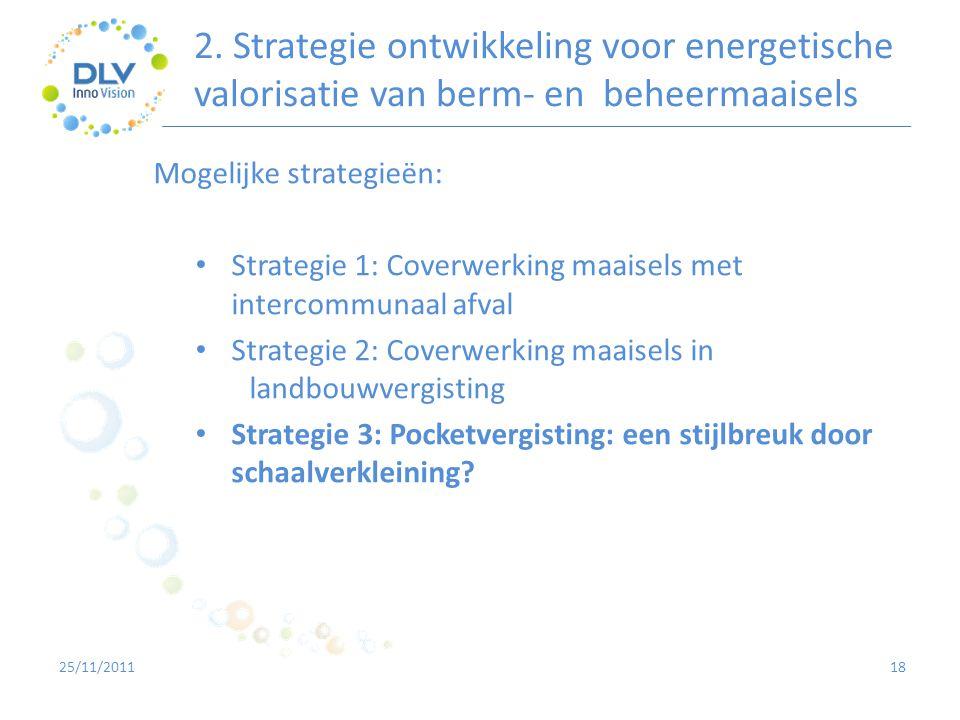 2. Strategie ontwikkeling voor energetische valorisatie van berm- en beheermaaisels 18 Mogelijke strategieën: • Strategie 1: Coverwerking maaisels met