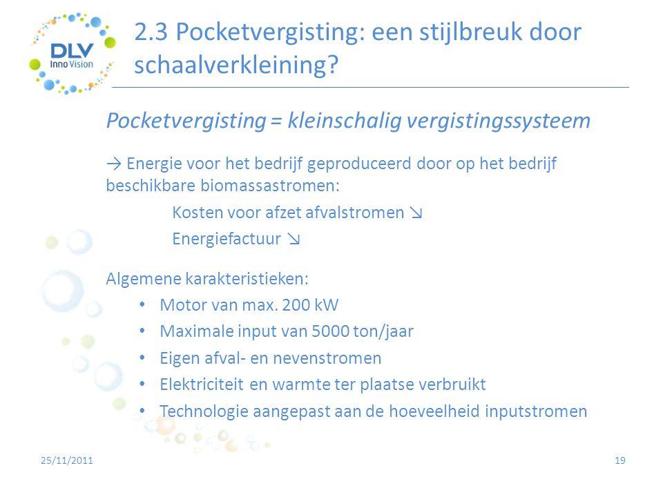 2.3 Pocketvergisting: een stijlbreuk door schaalverkleining? 19 Pocketvergisting = kleinschalig vergistingssysteem → Energie voor het bedrijf geproduc