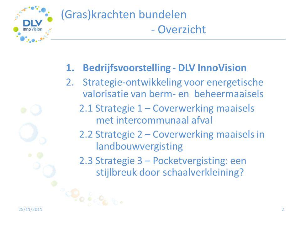 2 1.Bedrijfsvoorstelling - DLV InnoVision 2.Strategie-ontwikkeling voor energetische valorisatie van berm- en beheermaaisels 2.1 Strategie 1 – Coverwe