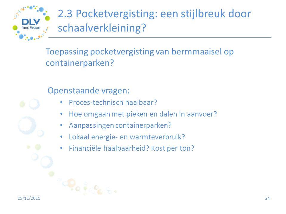 2.3 Pocketvergisting: een stijlbreuk door schaalverkleining? 24 Toepassing pocketvergisting van bermmaaisel op containerparken? Openstaande vragen: •
