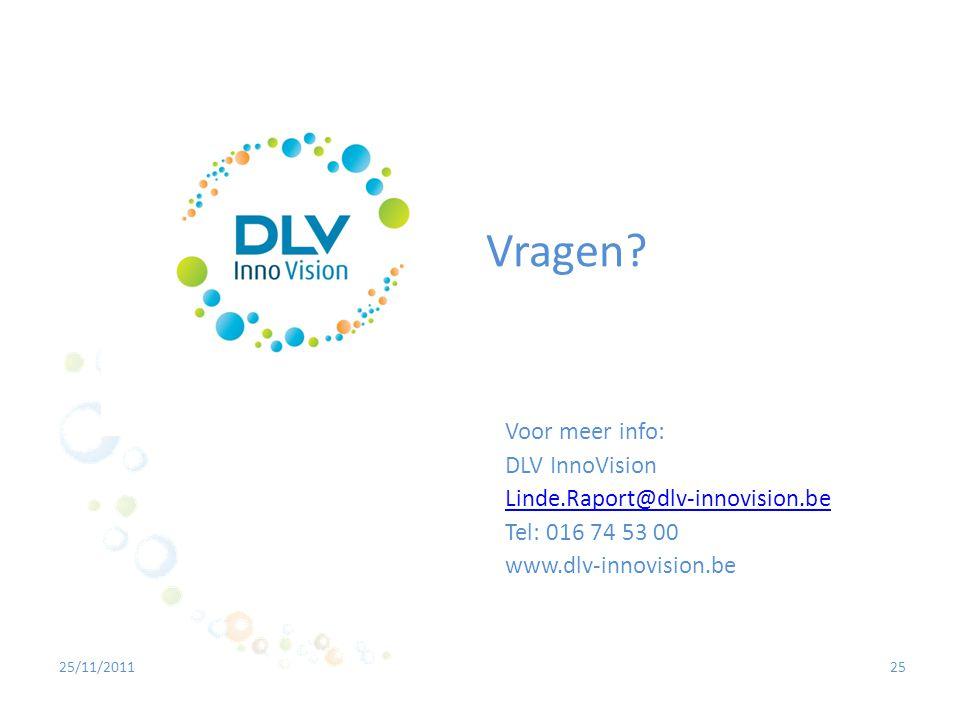 2525/11/2011 Vragen? Voor meer info: DLV InnoVision Linde.Raport@dlv-innovision.be Tel: 016 74 53 00 www.dlv-innovision.be