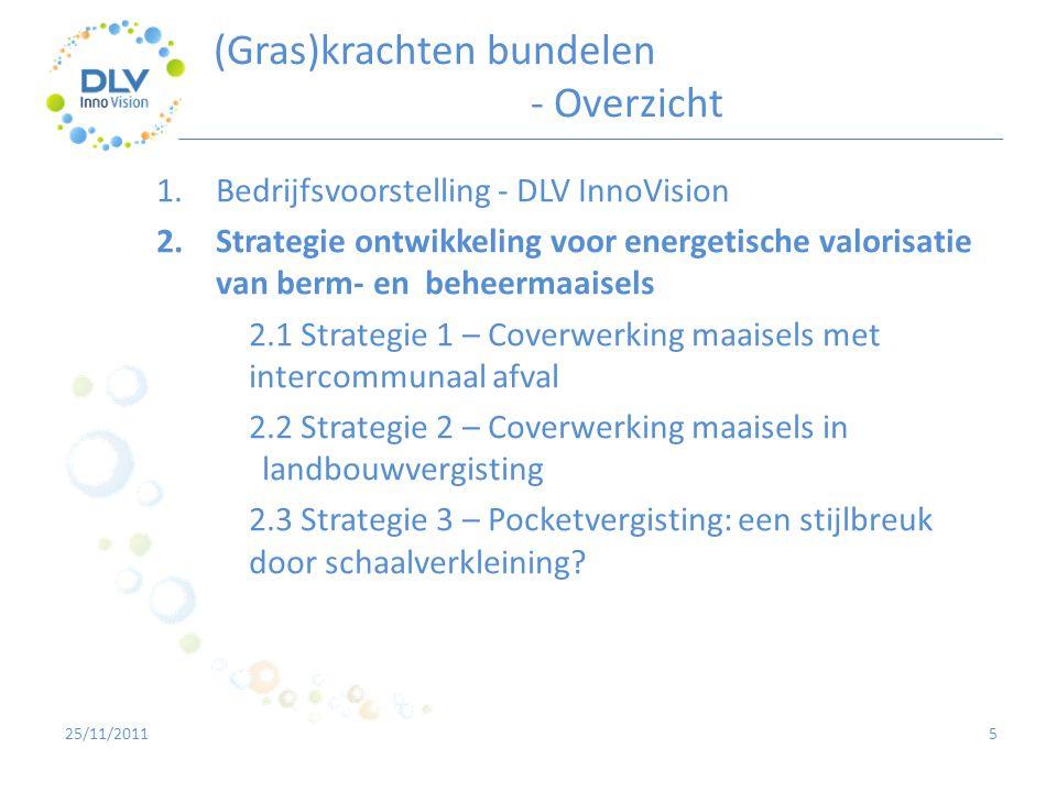 5 1.Bedrijfsvoorstelling - DLV InnoVision 2.Strategie ontwikkeling voor energetische valorisatie van berm- en beheermaaisels 2.1 Strategie 1 – Coverwe
