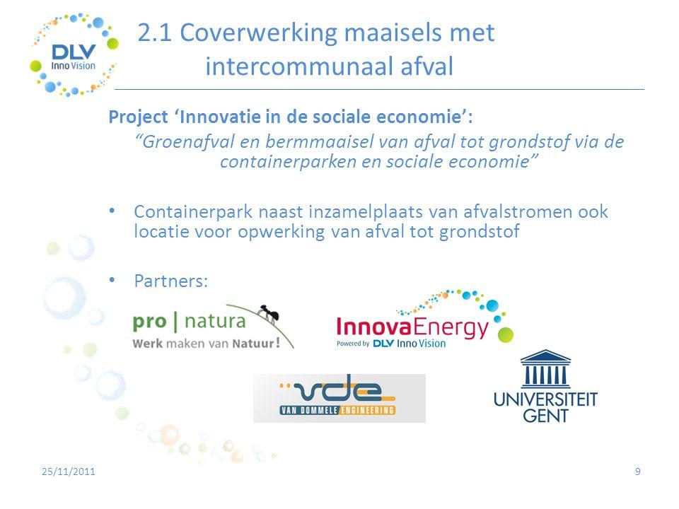 """2.1 Coverwerking maaisels met intercommunaal afval 9 Project 'Innovatie in de sociale economie': """"Groenafval en bermmaaisel van afval tot grondstof vi"""