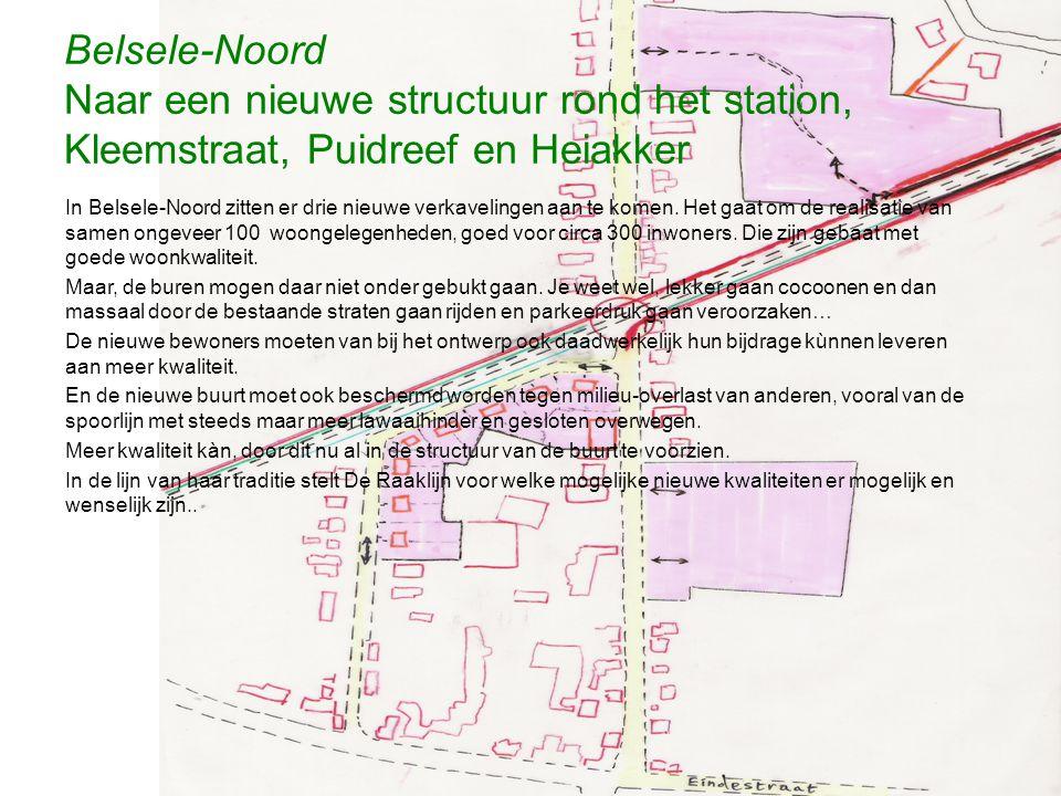 Belsele-Noord Naar een nieuwe structuur rond het station, Kleemstraat, Puidreef en Heiakker In Belsele-Noord zitten er drie nieuwe verkavelingen aan t