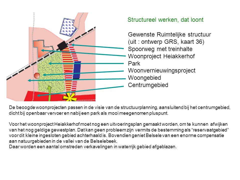 Gewenste Ruimtelijke structuur (uit : ontwerp GRS, kaart 36) Spoorweg met treinhalte Woonproject Heiakkerhof Park Woonvernieuwingsproject Woongebied C